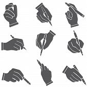 writing hand set, hand holding pen