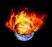 Burning earth globe (without gloving) (elements furnished by NASA)