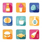 Food icons in flat style