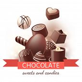 Chocolate sweets and candies over white background