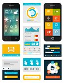 set of flat mobile elements, flat mobile phones and flat design icons for mobile app and web