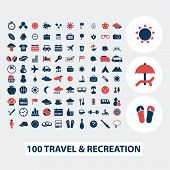 100 travel, vacation, summer icons, signs, symbols, vector set