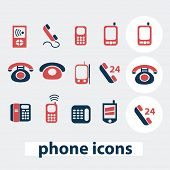 phone, smartphone, mobile, call service icons, signs, symbols, vector set