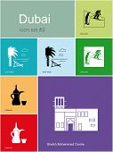 Landmarks of Dubai. Set of color icons in Metro style. Raster illustration.
