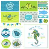 Vintage Seahorse Party Set - for Party Decoration, Scrapbook, Wedding - in vector