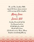Wedding Invitation with zig zag background. Template Wedding invitations or announcements