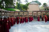 Tibetan Buddhist Monks And Neophytes  Linie Up