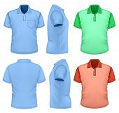 Men's polo-shirt design template (front, rear, side views). Illustration contains gradient mesh. Pho