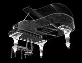Antique grand Piano with path