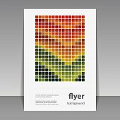 Flyer or Cover Design with Colorful Mosaic Pattern