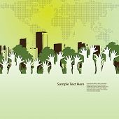 People Reaching for an Environmentally Friendly World - Colorful Abstract Eco Concept Vector Backgro