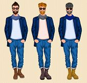 stock photo of ginger man  - Hipster character male avatar persons set of grey ginger brown hair men isolated vector illustration - JPG