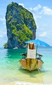 Krabi Beach With Food Store Boat