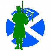 stock photo of bagpipes  - A silhouette of a Scottish piper playing the bagpipes - JPG