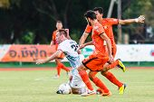 Sisaket Thailand-july 6: Nikola Nikezic Of Chainat Hornbill Fc. (white) In Action During Thai Premie