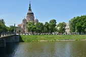 KHARKOV, UKRAINE - JUNE 5, 2014: Annunciation Cathedral in a sunny day. Built in 1901 by Michael Lov