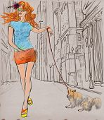 An Woman Through The Street. Hand Drawn Illustration.