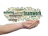 Concept or conceptual abstract business marketing teamwork word cloud or wordcloud in man or woman h