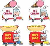 image of ice-cream truck  - Cartoon Mascot Character Delivery Trucks - JPG