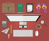 Set of Flat Design Icons. PC, Marketing Technologies, Mobile Apps, Email, Video Services and Money M
