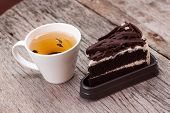Hot Tea And Chocolate Cake