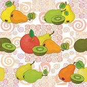 Seamless pattern and fruits
