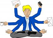 Businessman Meditating In Lotus Position And Does A Lot Of Work At The Same Time