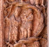 PARMA,ITALY-MAY 01,2014:Christ Performing Works of Mercy relief at the  baptistery from Benedetto An