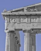 Athens Greece, Parthenon detail in black/white and blue