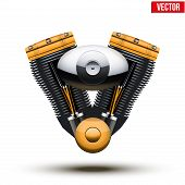 retro motorcycle engine. Vector Illustration.