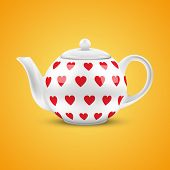 White ceramic teapot with hearts pattern. Vector illustration.