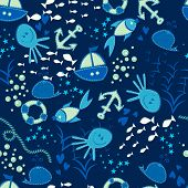 Seamless vector doodle sea pattern