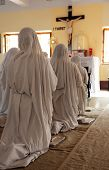 KOLKATA, INDIA - FEBRUARY 08: Sisters of Mother Teresa's Missionaries of Charity in prayer in the ch