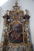 WURZBURG, GERMANY - JULY 18: Madonna with Child, altar in the Neumunster Collegiate Church, built in