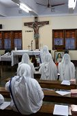 KOLKATA, INDIA - FEBRUARY 07: Sisters of Mother Teresa's Missionaries of Charity in prayer in the ch