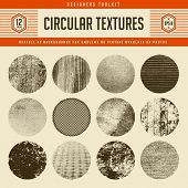 set of 12 highly detailed circular vector textures - great as backgrounds for vintage emblems or as