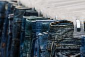 Row Of Jeans And Trousers .