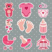 Cute  Icons For Newborn Baby Girl.polka Dot Background