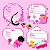 Cute Label Set With Items For Newborn Baby Girl