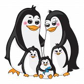 Penguins family on white background.