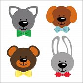 Funny Faces Animals With Bow Tie.baby Collection