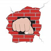 Fist Burst Through Brick Wall