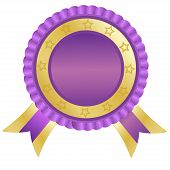 Purple badge, lable,