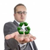 Business Man Holding Recycling Symbol
