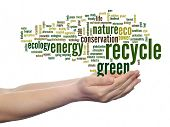 Concept or conceptual abstract green ecology recycle, conservation word cloud text in man hand on wh
