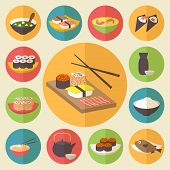 Sushi, Japanese cuisine, food icons set, flat design vector.