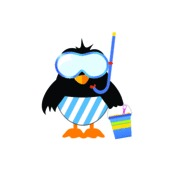 Penguin Ready For The Beach Vector Illustration