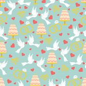 Vintage Wedding Seamless Pattern Set.hearts, Pigeons,cake,rings