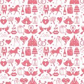 Flat Wedding Design Elements In Seamless Pattern
