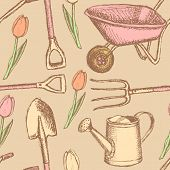 picture of hand-barrow  - Garden fork barrow watering can and shovel vintage seamless pattern - JPG